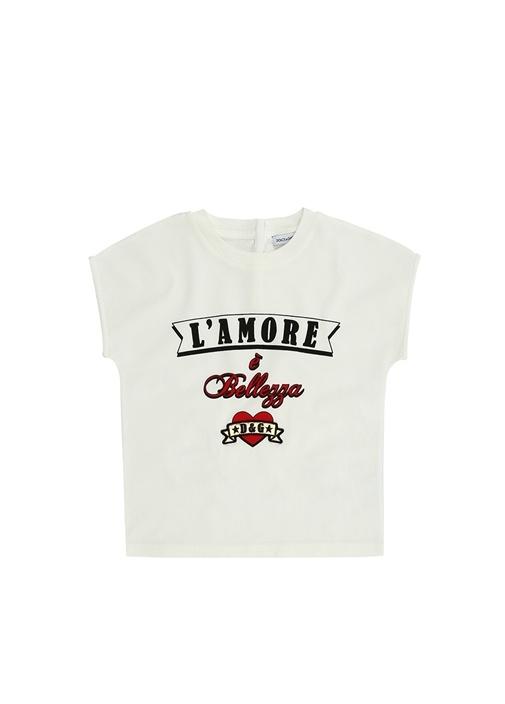 Beyaz Baskılı Kız Bebek T-shirt