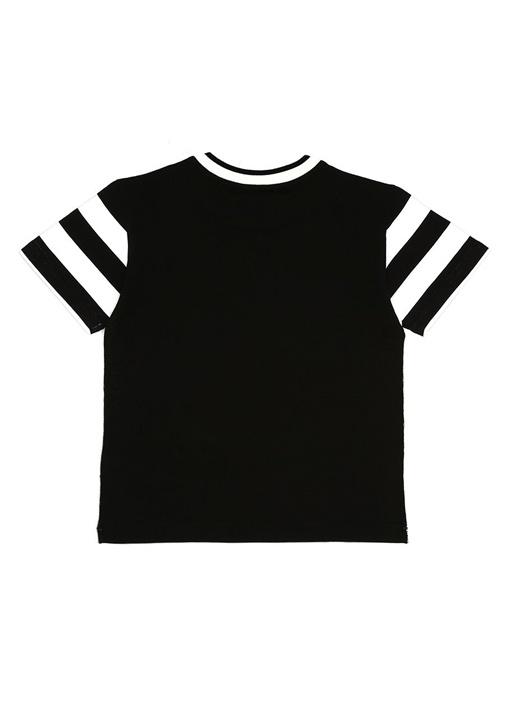 Beyaz Siyah Baskılı Erkek Çocuk T-shirt