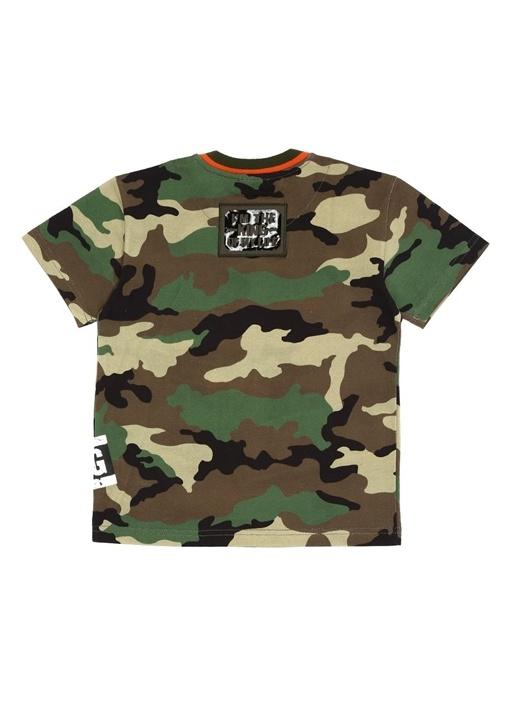 Kamuflaj Desenli Patch Detaylı Erkek Çocuk T-shirt