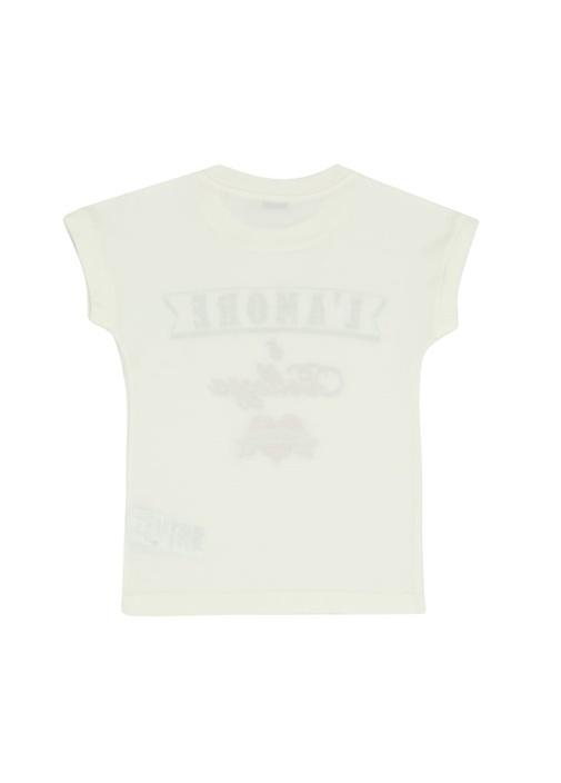 Beyaz Yazı Baskılı Kız Çocuk T-shirt
