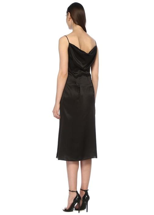 Siyah İnce Askılı Drapeli Midi İpek Saten Elbise
