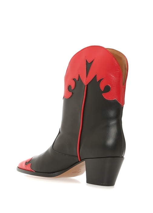 Siyah Kırmızı Desenli Garnili Kadın Deri Bot