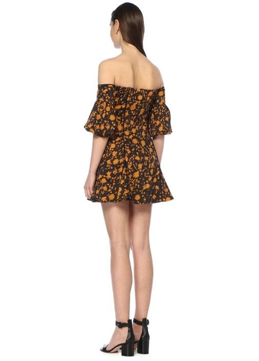 Only With You Siyah Omzu Açık Çiçekli Mini Elbise