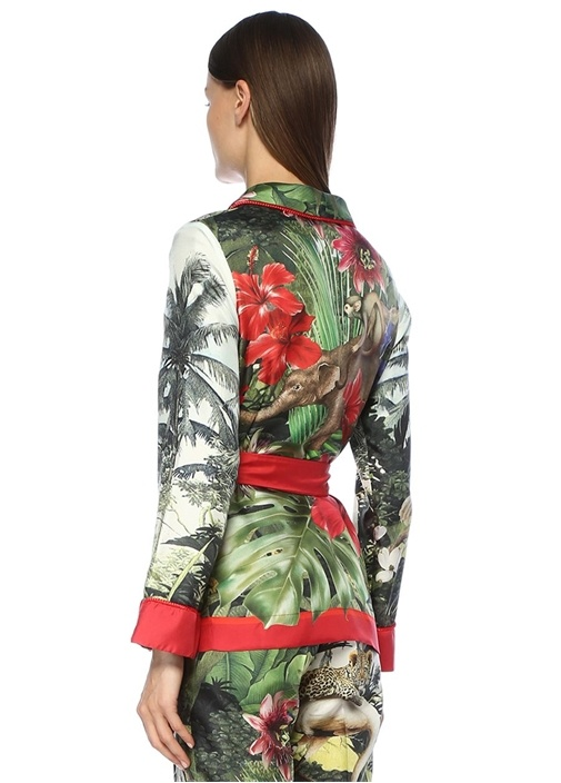 Armonia Şal Yaka Tropik Desen Kuşaklı İpek Ceket