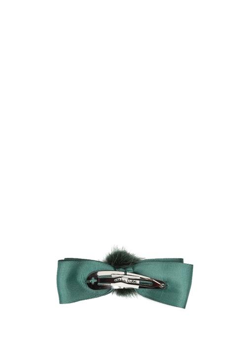 Grosgrain Yeşil Ponponlu Kız Çocuk Saç Aksesuarı