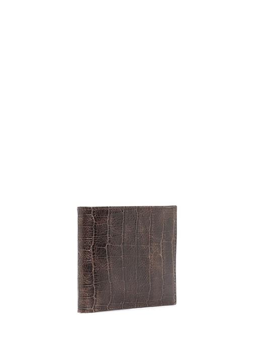 Kahverengi Timsah Derisi Desenli Erkek Deri Cüzdan