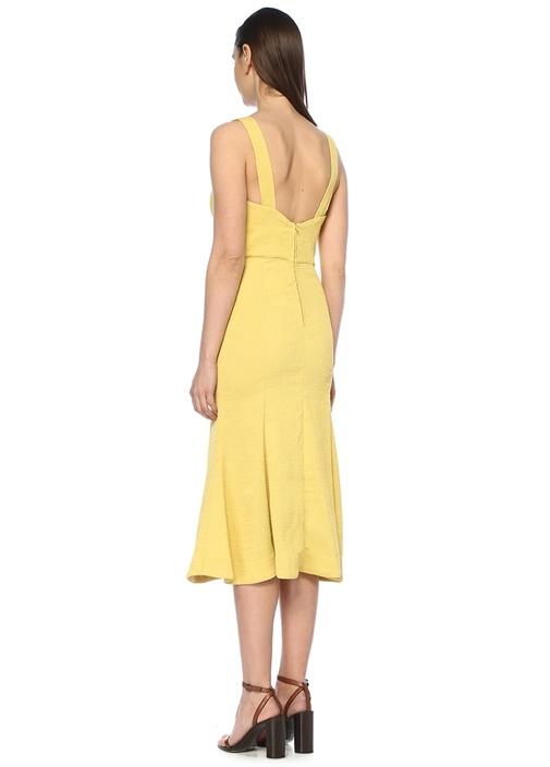 Apex Sarı Kare Yaka Yırtmaçlı Midi Elbise