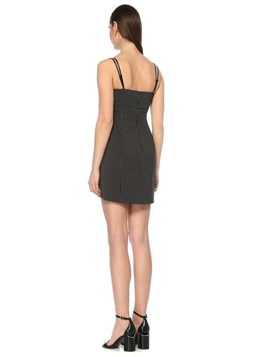 Siyah Çizgili Dantel Detaylı Mini Elbise