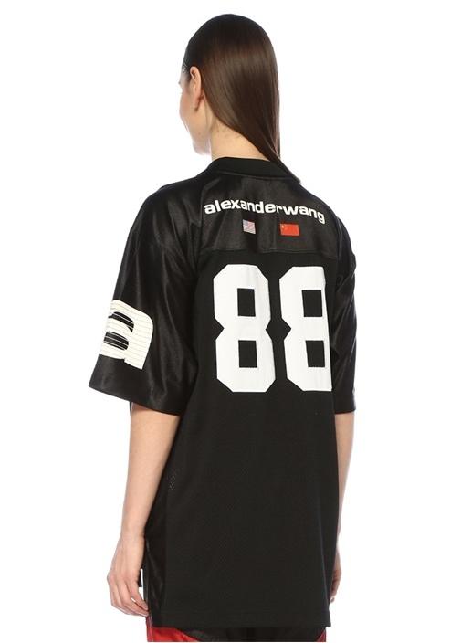 Athletic Siyah V Yaka Patchli Oversize T-shirt
