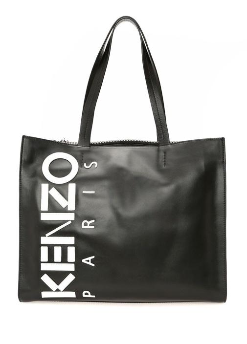 Siyah Small Logo Nakışlı Kadın Deri Çanta