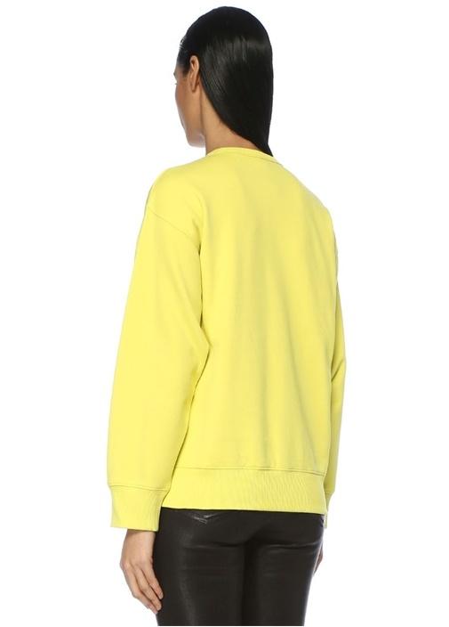 Sarı Bisiklet Yaka Grafik Logo Baskılı Sweatshirt