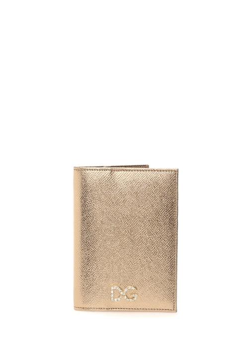 Gold Taşlı Logolu Kadın Deri Pasaportluk