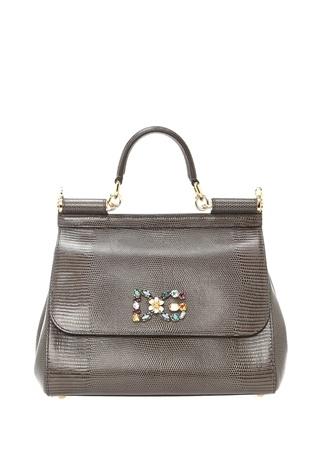 Dolce&Gabbana Kadın Sicily Medium Gri aşlı Logolu Deri Çanta Ürün Resmi
