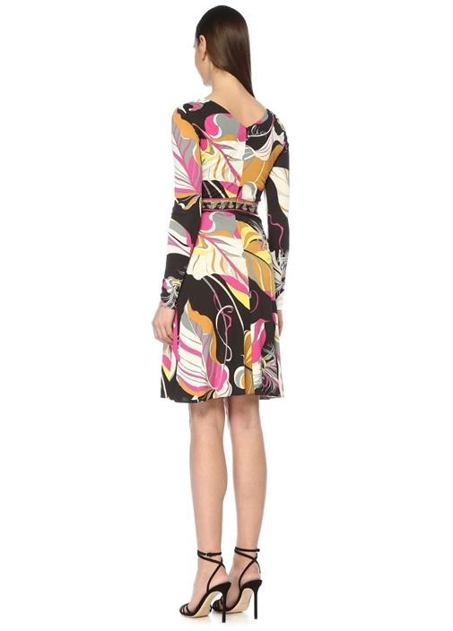 Moonlight Garden Siyah V Yaka Drapeli Midi Elbise
