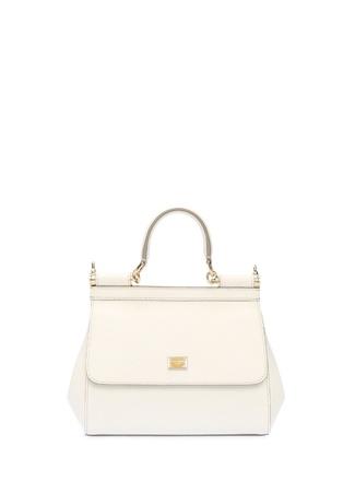 Dolce&Gabbana Kadın Sicily Beyaz Logolu Deri Omuz Çantası EU