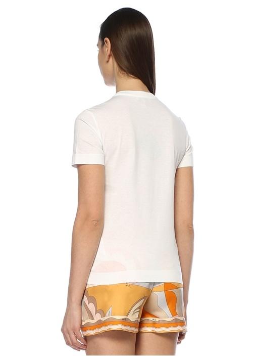 Beyaz Bisiklet Yaka Logo Baskılı T-shirt