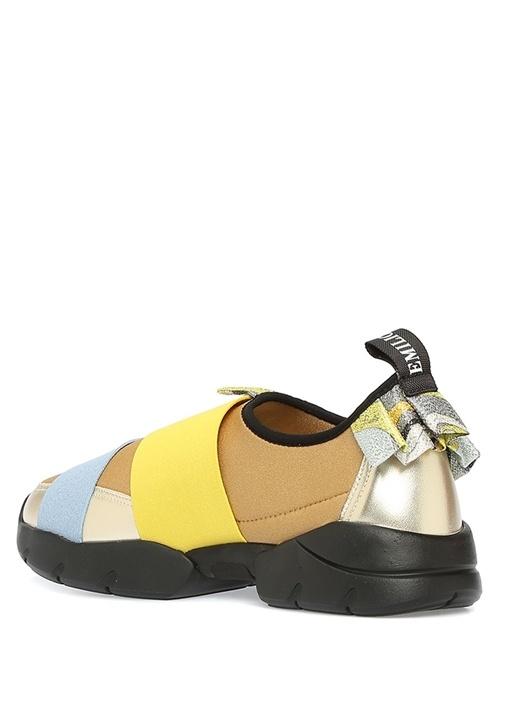 Gold Siyah Fırfırlı Sim Dokulu Kadın Sneaker