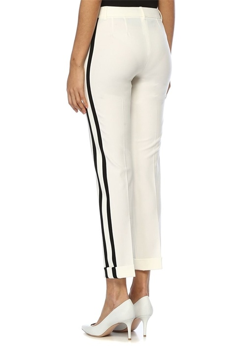 Beyaz Siyah Kontrast Şeritli Dar Paça Yün Pantolon