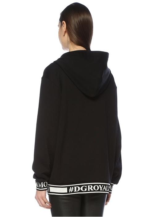 Siyah Kapüşonlu Logo Şeritli Fermuarlı Sweatshirt
