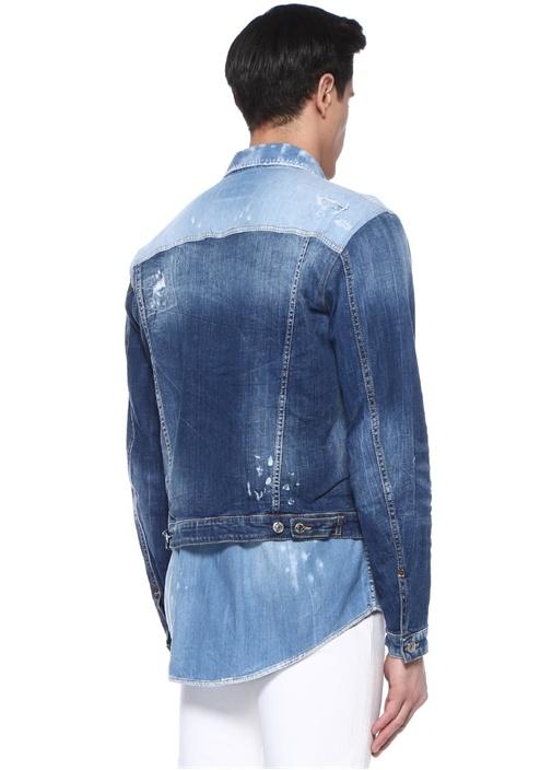 Mavi İngiliz Yaka Patchworklu Denim Gömlek