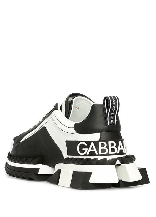 Super Queen Siyah Beyaz Kadın Deri Sneaker