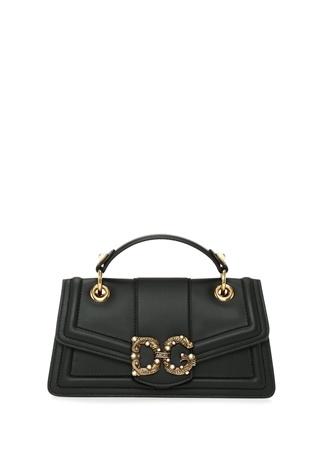 b3f243a4dcb48 Dolce&Gabbana Kadın Amore Siyah Logo Detaylı Deri Omuz Çantası EU