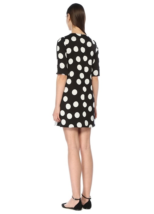 Siyah Puantiyeli Yarım Kol Mini İpek Elbise