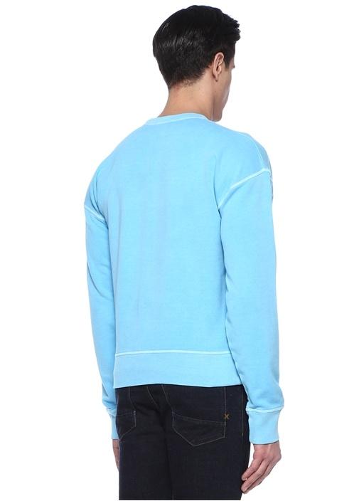 Mavi Bisiklet Yaka Logo Baskılı Sweatshirt