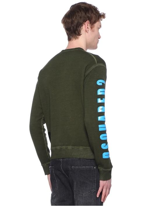 Haki Bisiklet Yaka Kabartmalı Yazılı Sweatshirt