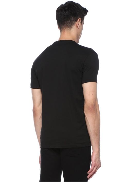 Siyah Bisiklet Yaka Çiçek Baskılı Logolu T-shirt