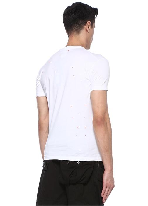 Beyaz Bisiklet Yaka Fırça Darbeli BasicT-shirt