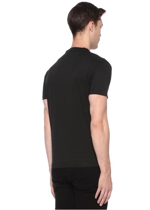 Siyah Bisiklet Yaka Logolu Basic T-shirt
