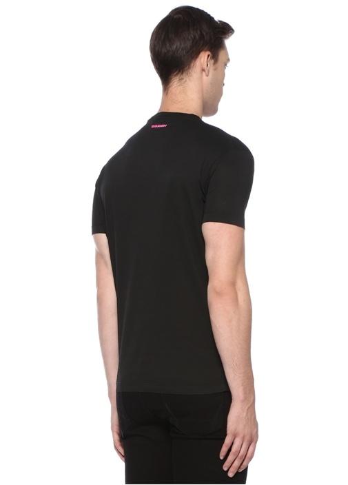Icon Siyah Bisiklet Yaka Baskılı Basic T-shirt
