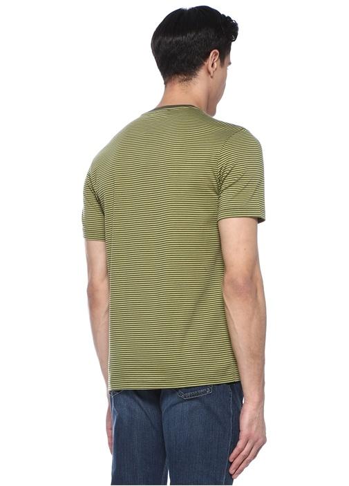 Yeşil Çizgili Bisiklet Yaka Basic T-shirt