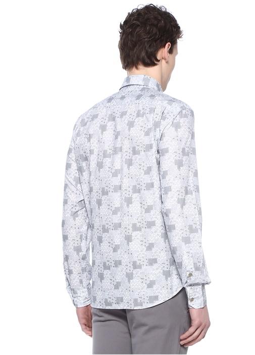 Comfort Fit Düğmeli Yaka Patchwork Desenli Gömlek
