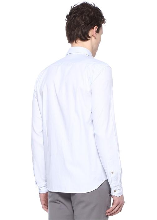 Comfort Fit Beyaz Düğmeli Yaka Armürlü Gömlek