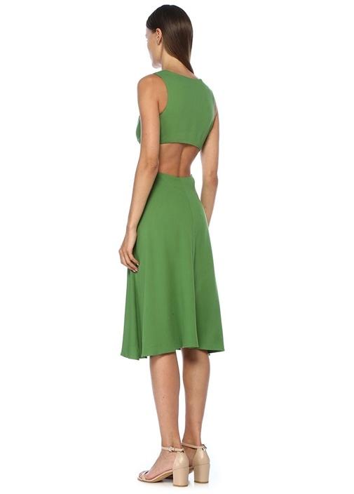 Cybele Yeşil Dekolteli Halka Detaylı Midi Elbise