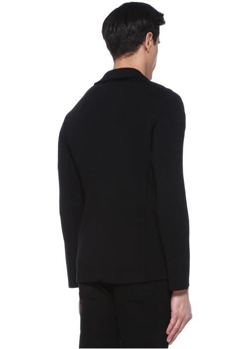Siyah Kelebek Yaka Triko Ceket