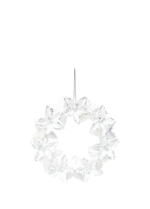 Beyaz Silver Simli Çiçek Formlu YılbaşıSüsü