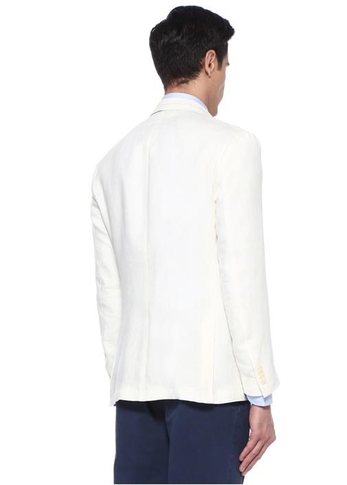Drop 7 Beyaz Kırlangıç Yaka Sıra Düğmeli Yün Ceket