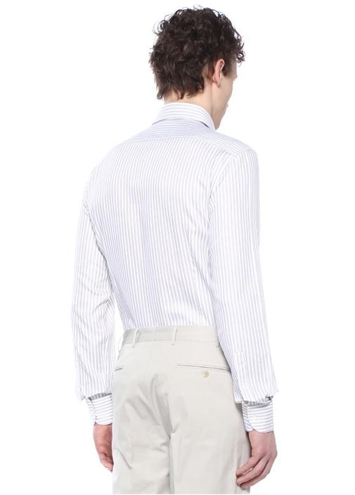 Drop 2 Beyaz Kahverengi Çizgili Gömlek