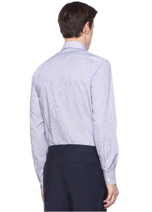 Drop 2 Mavi Beyaz İngiliz Yaka Çizgili Gömlek