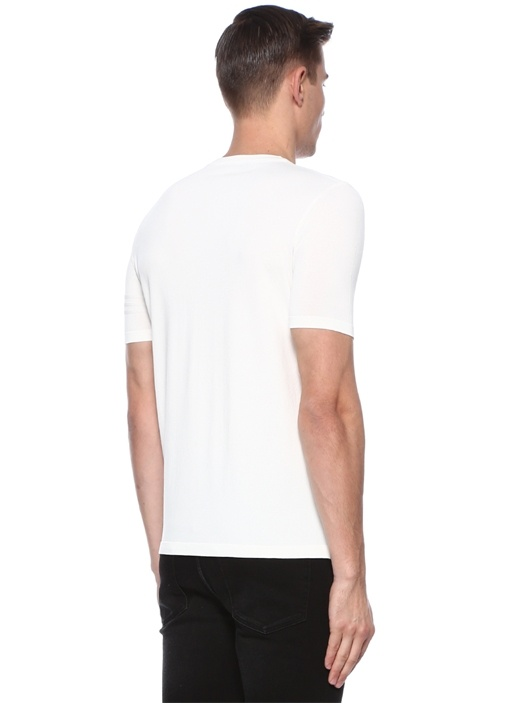 Beyaz Bisiklet Yaka Dokulu T-shirt