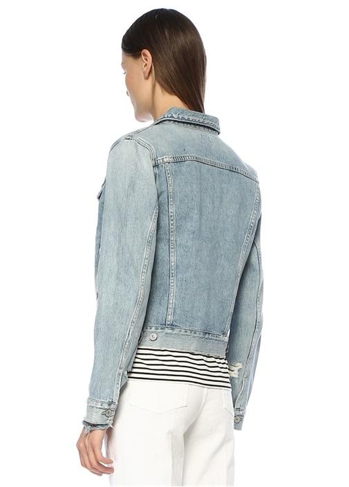 Nica Slim Fit Yıpratma Detaylı Jean Ceket