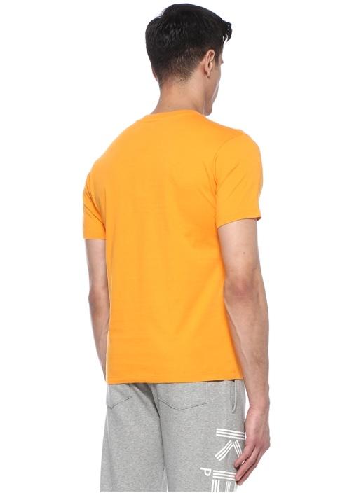 Turuncu Bisiklet Yaka Kaplan Baskılı Basic T-shirt