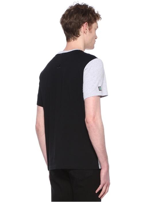 Gri Melanj Siyah Logo Baskılı Basic T-shirt