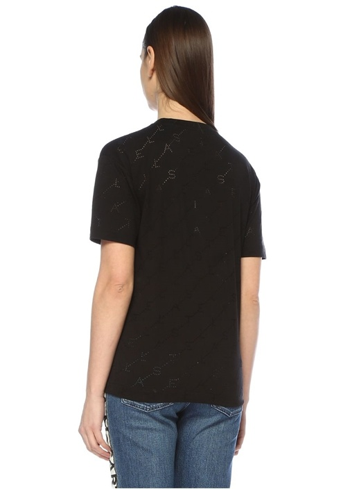 Monogram Siyah Delikli Logolu T-shirt