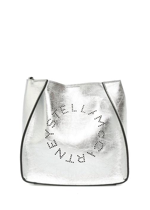 Mini Metalik Silver Logolu Kadın Omuz Çantası