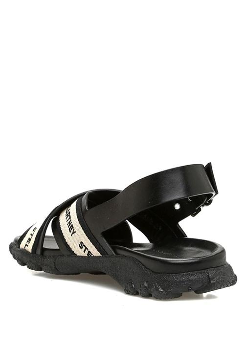 Siyah Bej Logo Nakışlı Kadın Sandalet