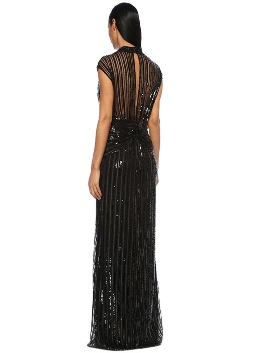 Siyah V Yaka Kuşaklı İşlemeli Maksi Elbise